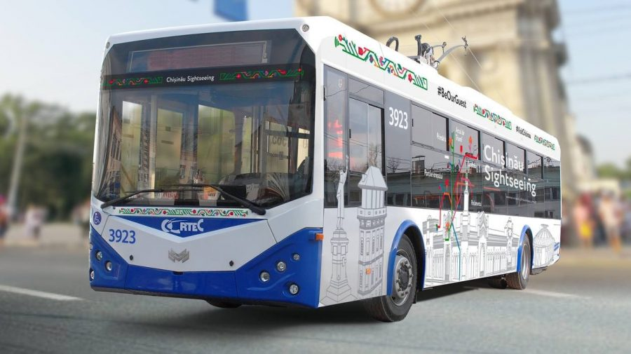 Un troleibuz turistic va circula pe străzile Capitalei. Prima perioadă călătoria va fi gratuită