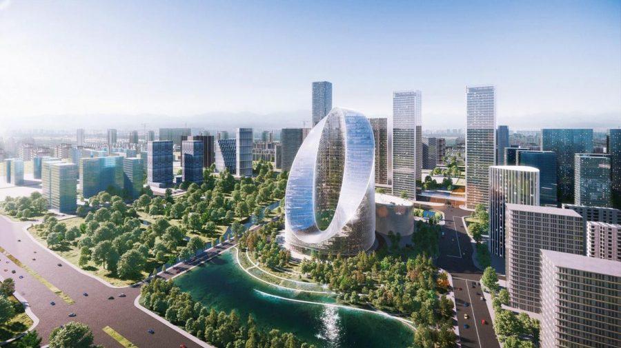 Cel mai mare producător de smartphone-uri din China construiește o superbă clădire în formă de buclă infinită (FOTO)