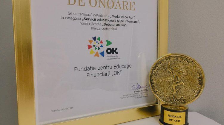 """Fundația pentru Educație Financiară """"OK"""" a fost decernată cu Medalia de Aur la Gala Businessului Moldovenesc 2021"""