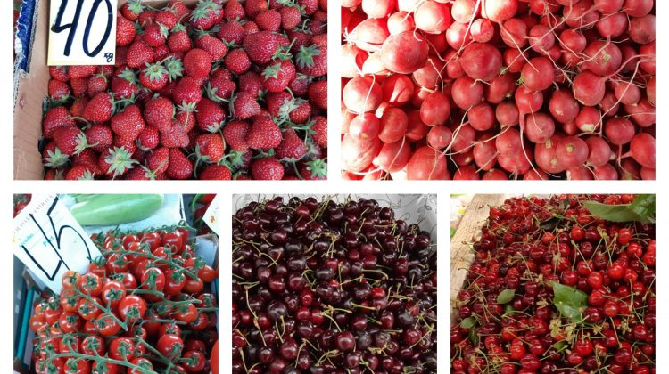 (FOTO) A scăzut prețul cireșelor. La piața centrală un kg ajunge la 35-40 de lei. Cât costă căpșunele și legumele