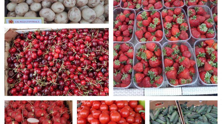 (FOTO) Prețurile la Piața Centrală. Un kg de cartofi noi costă 16 lei. Ce preț au cireșele, căpșunele și legumele