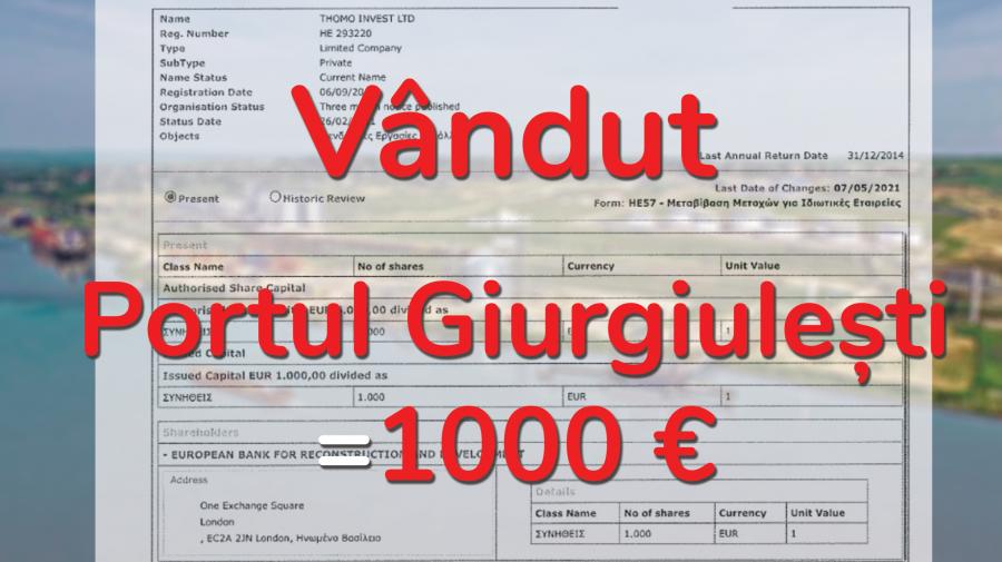 Exclusiv! Tranzacția BOMBĂ a anului 2021. BERD a cumpărat portul Giurgiulești cu 1000 de Euro. DOC