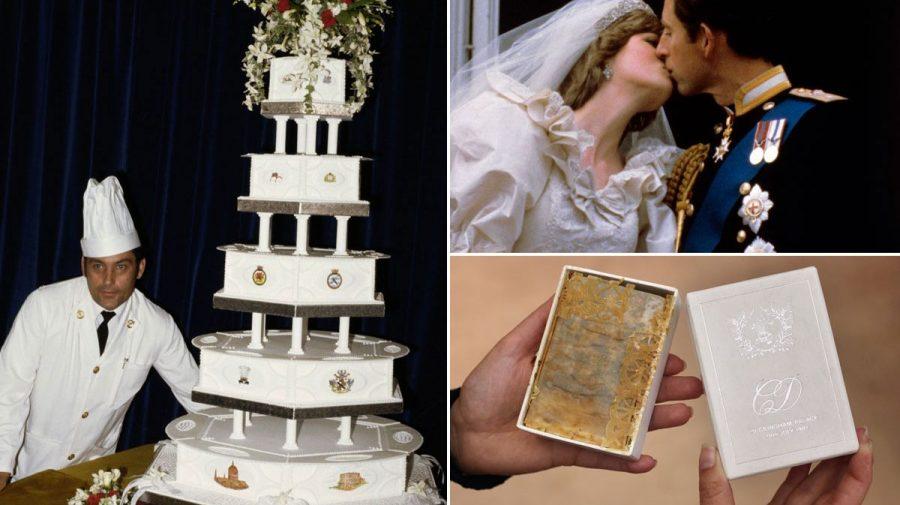 (VIDEO) O felie din tortul servit la nunta Prințesei Diana, scoasă la licitație după 40 de ani. Poate fi mâncat?