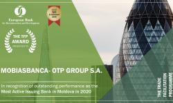 """Mobiasbanca – OTP Group desemnată de către BERD """"Cea mai activă bancă emitentă în 2020"""""""