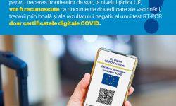 Începând de vineri, la nivelul țărilor UE, vor fi recunoscute doar certificatele digitale COVID