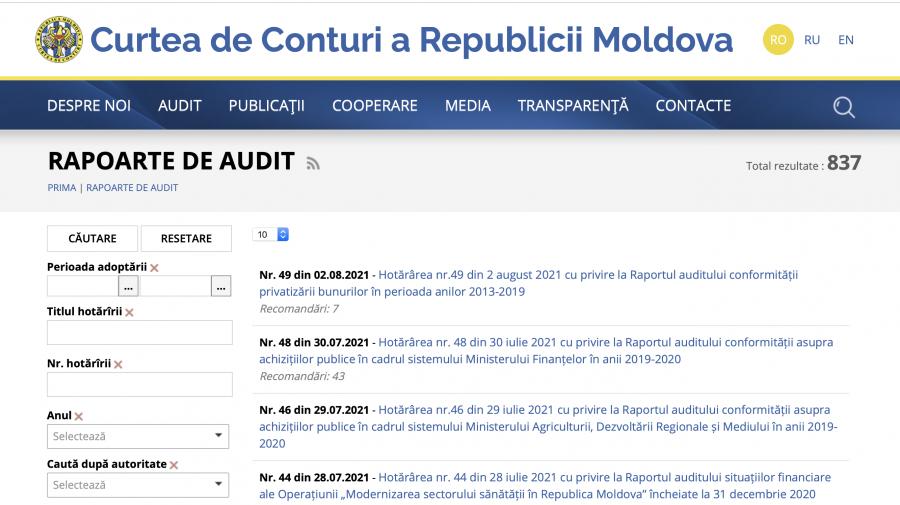 Curtea de Conturi anunță lansarea unei versiuni modernizate a paginii web