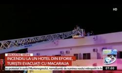 Incendiu puternic la un hotel din Eforie. Turiștii au fost evacuați cu macaraua, de pe acoperiș