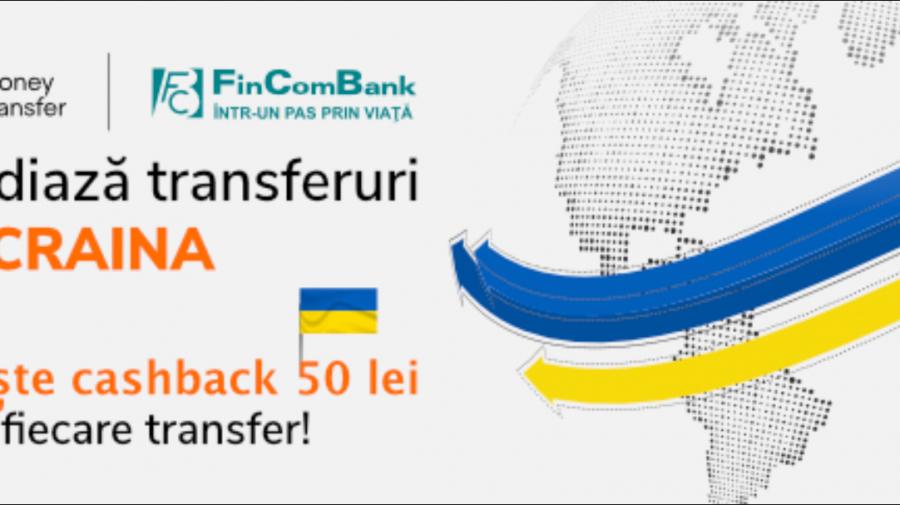 FinComBank desfășoară promoție cu cashback la transferuri Ria Money Transfer în Ucraina!