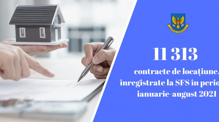 În perioada ianuarie-august 2021, la SFS, au fost înregistrate 11 313 contracte de chirie