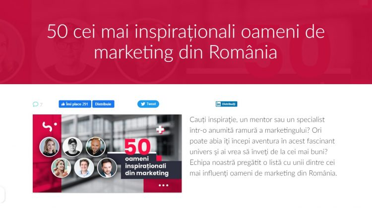 50 cei mai inspiraționali oameni de marketing din România